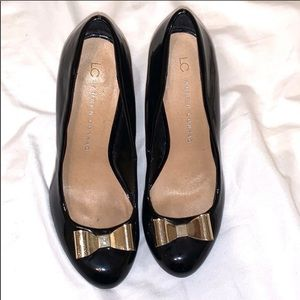 LC Black heels with gold bow